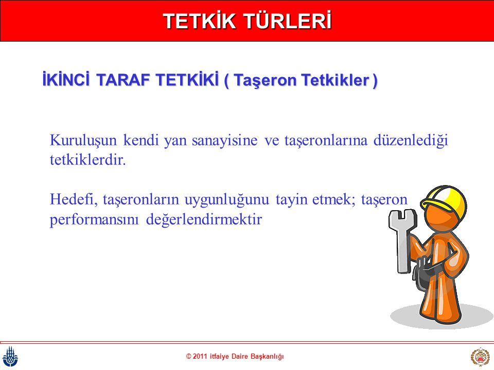 © 2011 itfaiye Daire Başkanlığı TETKİK TÜRLERİ Kuruluşun kendi yan sanayisine ve taşeronlarına düzenlediği tetkiklerdir. Hedefi, taşeronların uygunluğ
