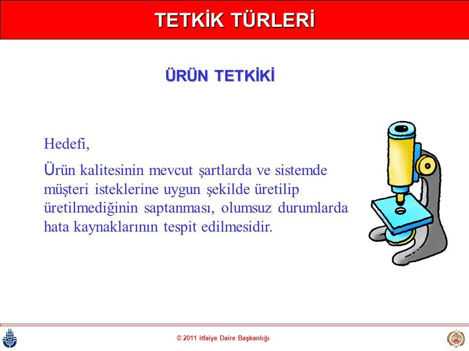 © 2011 itfaiye Daire Başkanlığı TETKİK TÜRLERİ Hedefi, Ürün kalitesinin mevcut şartlarda ve sistemde müşteri isteklerine uygun şekilde üretilip üretil
