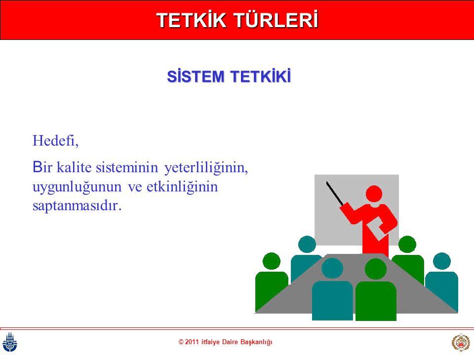 © 2011 itfaiye Daire Başkanlığı TETKİK TÜRLERİ Hedefi, Bir kalite sisteminin yeterliliğinin, uygunluğunun ve etkinliğinin saptanmasıdır. SİSTEM TETKİK