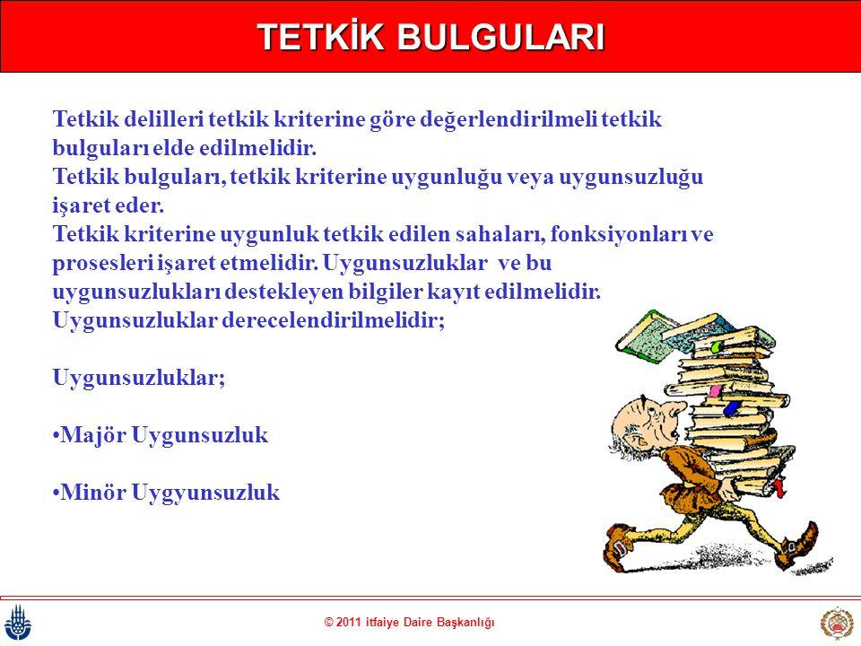 © 2011 itfaiye Daire Başkanlığı TETKİK BULGULARI Tetkik delilleri tetkik kriterine göre değerlendirilmeli tetkik bulguları elde edilmelidir. Tetkik bu