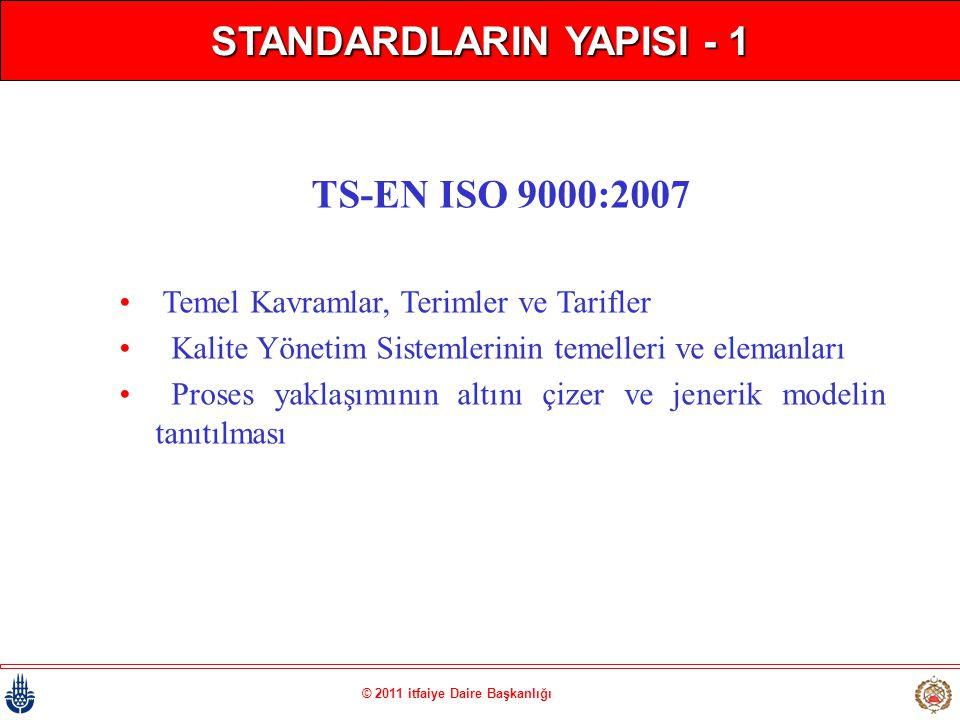 © 2011 itfaiye Daire Başkanlığı STANDARDLARIN YAPISI - 1 TS-EN ISO 9000:2007 • Temel Kavramlar, Terimler ve Tarifler • Kalite Yönetim Sistemlerinin te