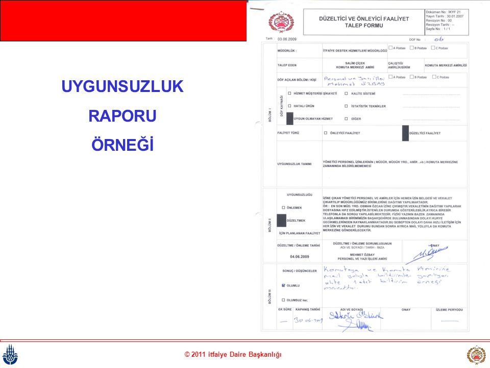 © 2011 itfaiye Daire Başkanlığı UYGUNSUZLUK RAPORU ÖRNEĞİ