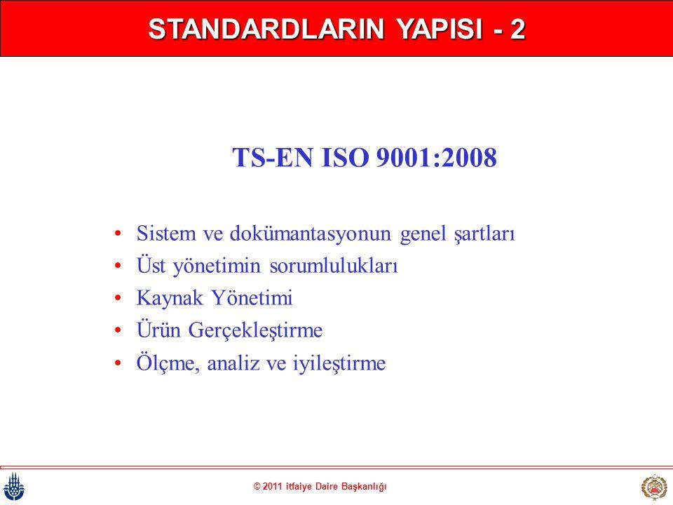 © 2011 itfaiye Daire Başkanlığı STANDARDLARIN YAPISI - 2 TS-EN ISO 9001:2008 • Sistem ve dokümantasyonun genel şartları • Üst yönetimin sorumlulukları