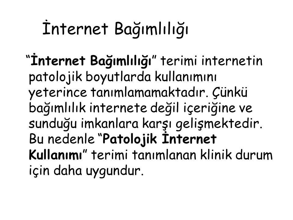 """""""İnternet Bağımlılığı"""" terimi internetin patolojik boyutlarda kullanımını yeterince tanımlamamaktadır. Çünkü bağımlılık internete değil içeriğine ve s"""