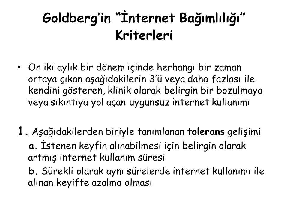 """Goldberg'in """"İnternet Bağımlılığı"""" Kriterleri • On iki aylık bir dönem içinde herhangi bir zaman ortaya çıkan aşağıdakilerin 3'ü veya daha fazlası ile"""