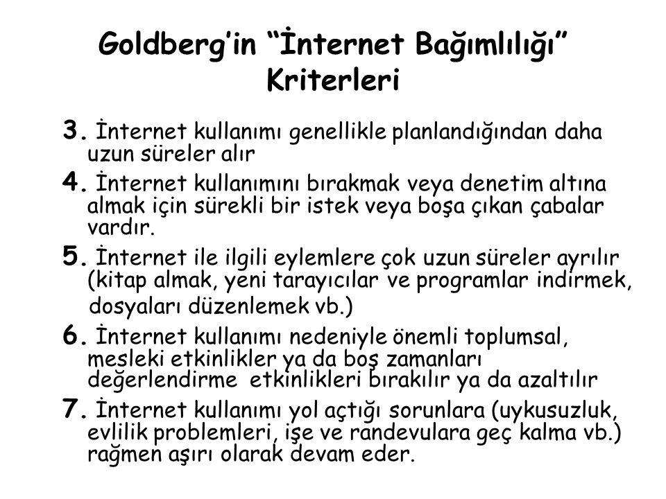"""Goldberg'in """"İnternet Bağımlılığı"""" Kriterleri 3. İnternet kullanımı genellikle planlandığından daha uzun süreler alır 4. İnternet kullanımını bırakmak"""