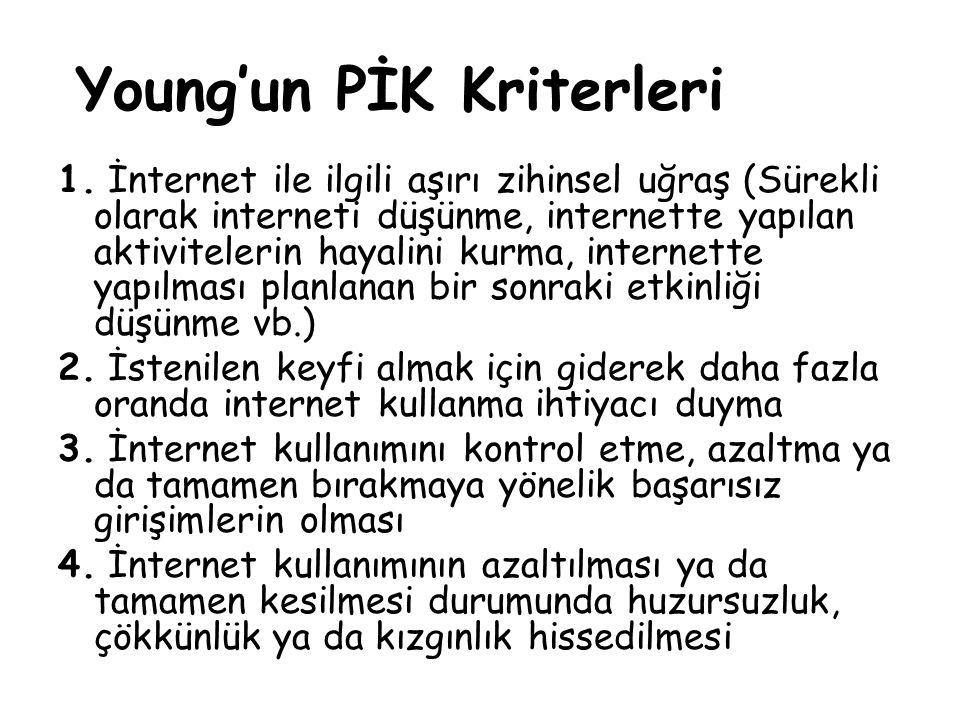 Young'un PİK Kriterleri 1. İnternet ile ilgili aşırı zihinsel uğraş (Sürekli olarak interneti düşünme, internette yapılan aktivitelerin hayalini kurma