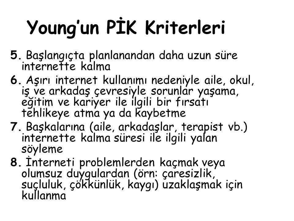 Young'un PİK Kriterleri 5. Başlangıçta planlanandan daha uzun süre internette kalma 6. Aşırı internet kullanımı nedeniyle aile, okul, iş ve arkadaş çe