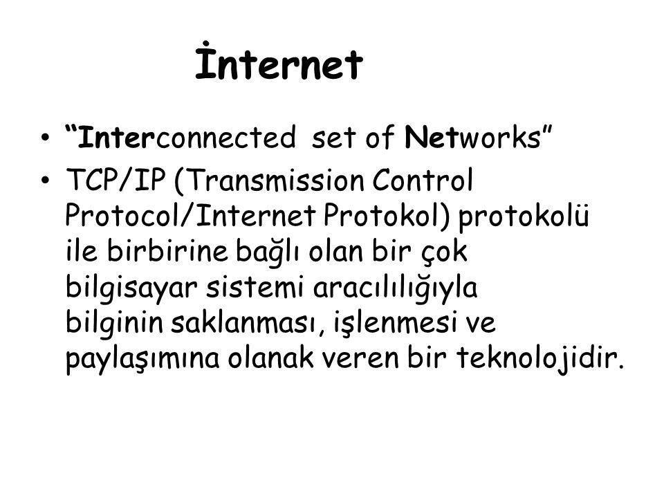"İnternet • ""Interconnected set of Networks"" • TCP/IP (Transmission Control Protocol/Internet Protokol) protokolü ile birbirine bağlı olan bir çok bilg"