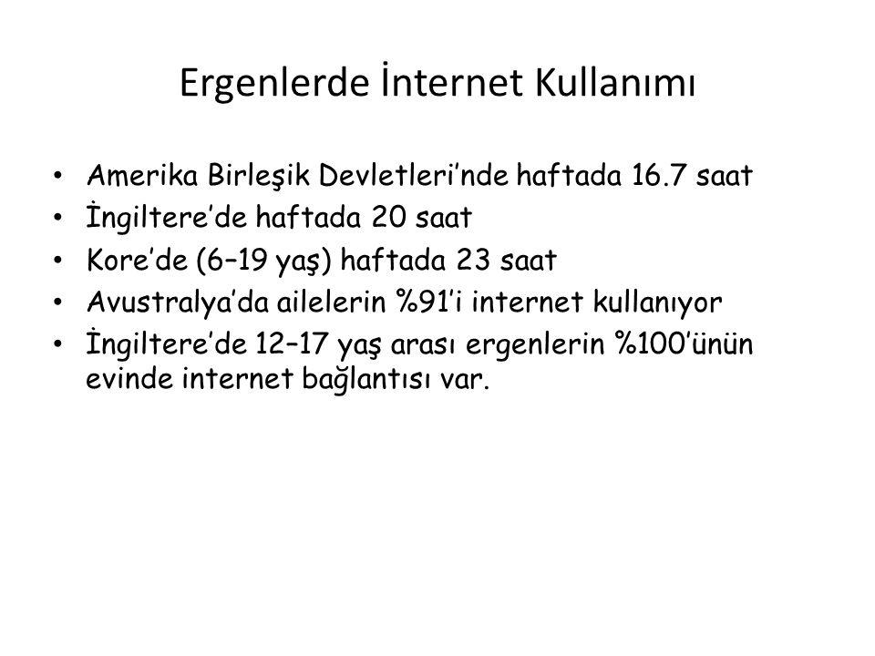 Ergenlerde İnternet Kullanımı • Amerika Birleşik Devletleri'nde haftada 16.7 saat • İngiltere'de haftada 20 saat • Kore'de (6–19 yaş) haftada 23 saat