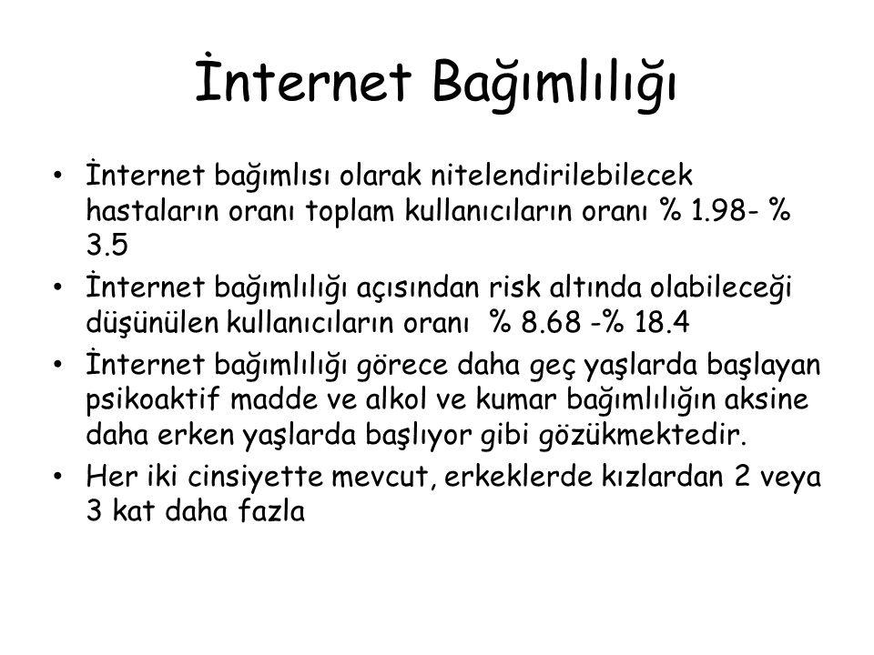 İnternet Bağımlılığı • İnternet bağımlısı olarak nitelendirilebilecek hastaların oranı toplam kullanıcıların oranı % 1.98- % 3.5 • İnternet bağımlılığ