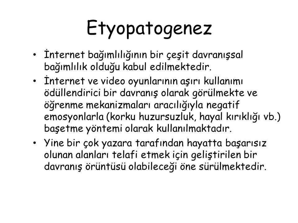 Etyopatogenez • İnternet bağımlılığının bir çeşit davranışsal bağımlılık olduğu kabul edilmektedir. • İnternet ve video oyunlarının aşırı kullanımı öd