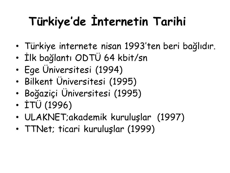 Türkiye'de İnternetin Tarihi • Türkiye internete nisan 1993'ten beri bağlıdır. • İlk bağlantı ODTÜ 64 kbit/sn • Ege Üniversitesi (1994) • Bilkent Üniv