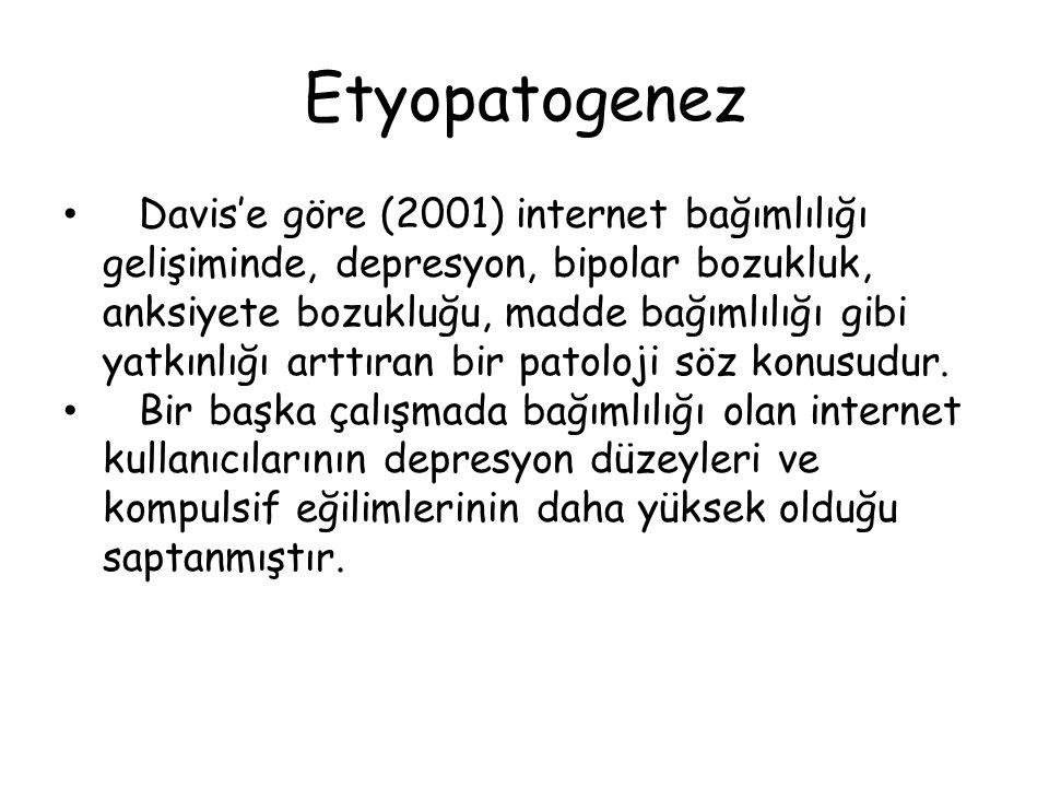 Etyopatogenez • Davis'e göre (2001) internet bağımlılığı gelişiminde, depresyon, bipolar bozukluk, anksiyete bozukluğu, madde bağımlılığı gibi yatkınl