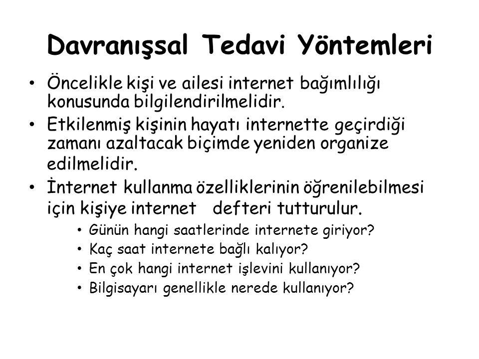 Davranışsal Tedavi Yöntemleri • Öncelikle kişi ve ailesi internet bağımlılığı konusunda bilgilendirilmelidir. • Etkilenmiş kişinin hayatı internette g