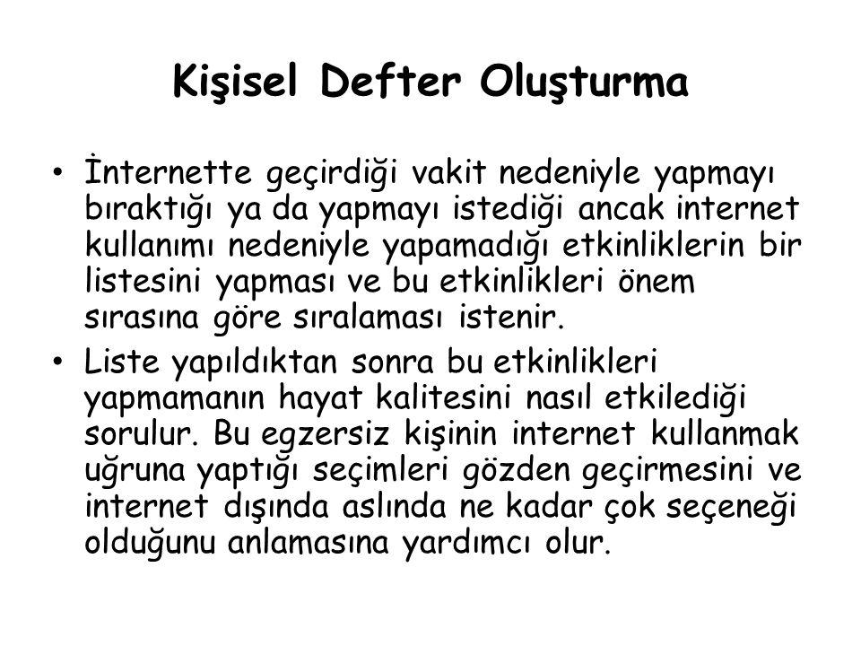 Kişisel Defter Oluşturma • İnternette geçirdiği vakit nedeniyle yapmayı bıraktığı ya da yapmayı istediği ancak internet kullanımı nedeniyle yapamadığı