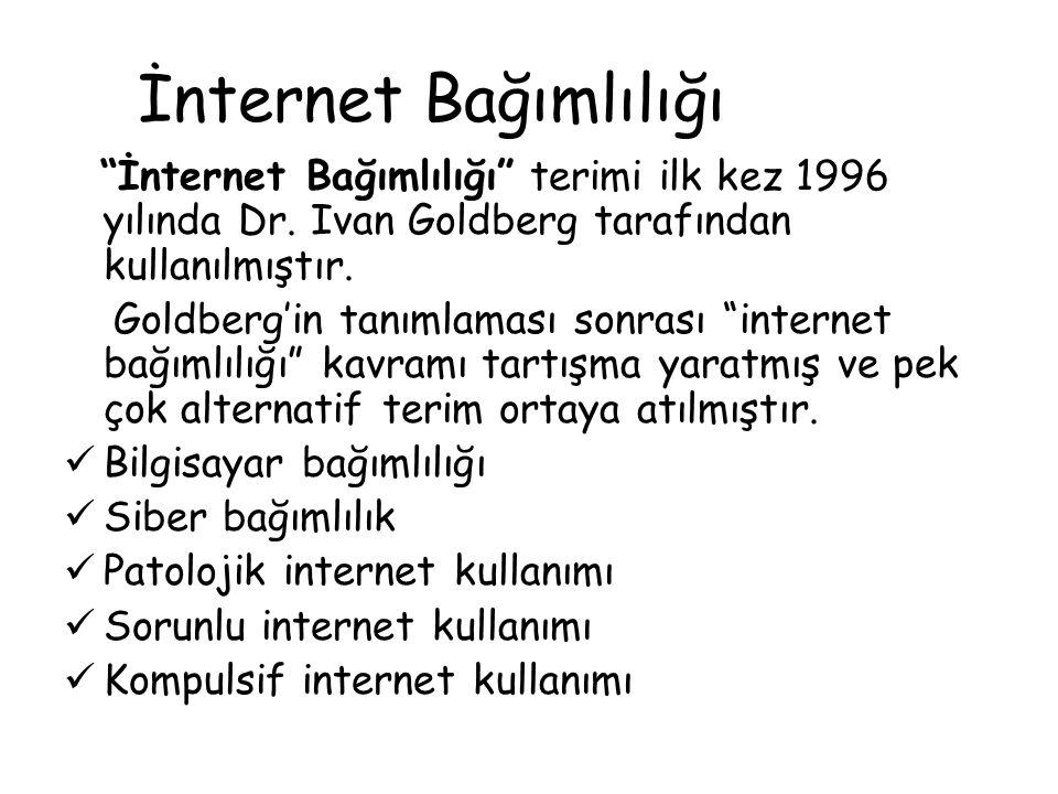 """İnternet Bağımlılığı """"İnternet Bağımlılığı"""" terimi ilk kez 1996 yılında Dr. Ivan Goldberg tarafından kullanılmıştır. Goldberg'in tanımlaması sonrası """""""