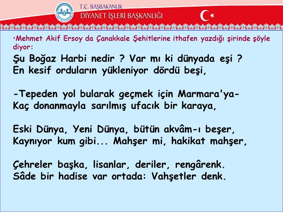 •Mehmet Akif Ersoy da Çanakkale Şehitlerine ithafen yazdığı şirinde şöyle diyor: Şu Boğaz Harbi nedir ? Var mı ki dünyada eşi ? En kesif orduların yük