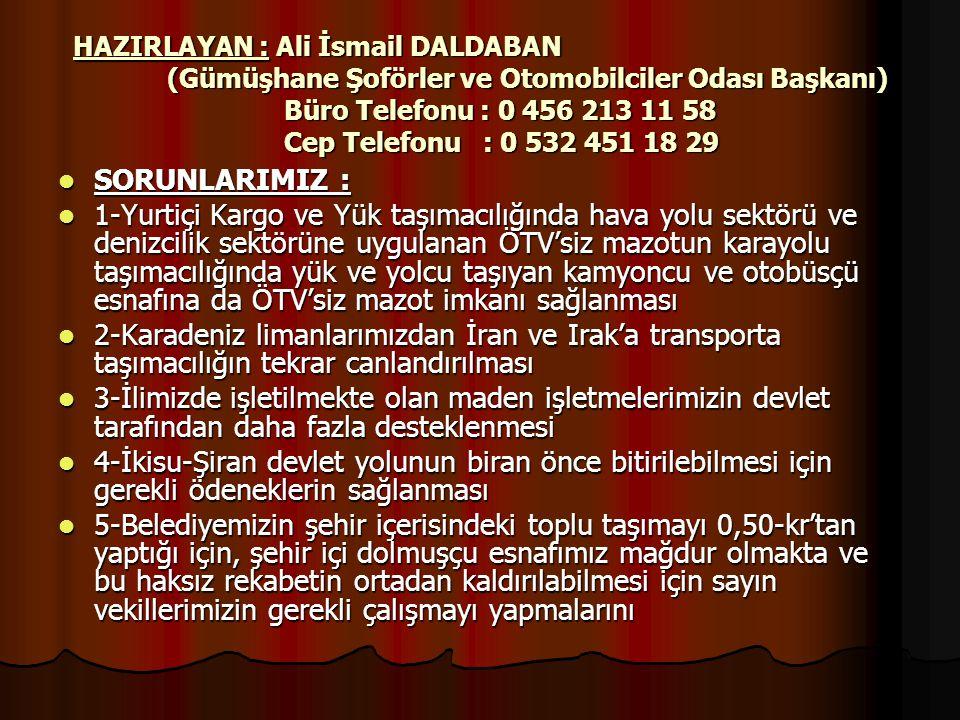 HAZIRLAYAN : Ali İsmail DALDABAN (Gümüşhane Şoförler ve Otomobilciler Odası Başkanı) Büro Telefonu : 0 456 213 11 58 Cep Telefonu : 0 532 451 18 29 