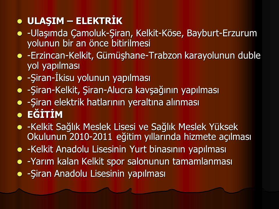  ULAŞIM – ELEKTRİK  -Ulaşımda Çamoluk-Şiran, Kelkit-Köse, Bayburt-Erzurum yolunun bir an önce bitirilmesi  -Erzincan-Kelkit, Gümüşhane-Trabzon kara
