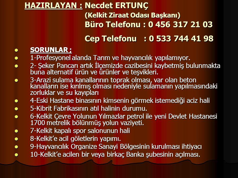 HAZIRLAYAN : Necdet ERTUNÇ (Kelkit Ziraat Odası Başkanı) Büro Telefonu : 0 456 317 21 03 Cep Telefonu : 0 533 744 41 98  SORUNLAR ;  1-Profesyonel a