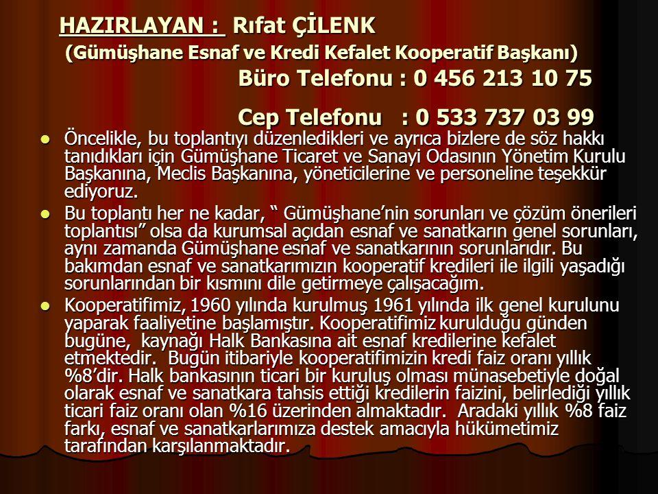 HAZIRLAYAN : Rıfat ÇİLENK (Gümüşhane Esnaf ve Kredi Kefalet Kooperatif Başkanı) Büro Telefonu : 0 456 213 10 75 Cep Telefonu : 0 533 737 03 99  Öncel