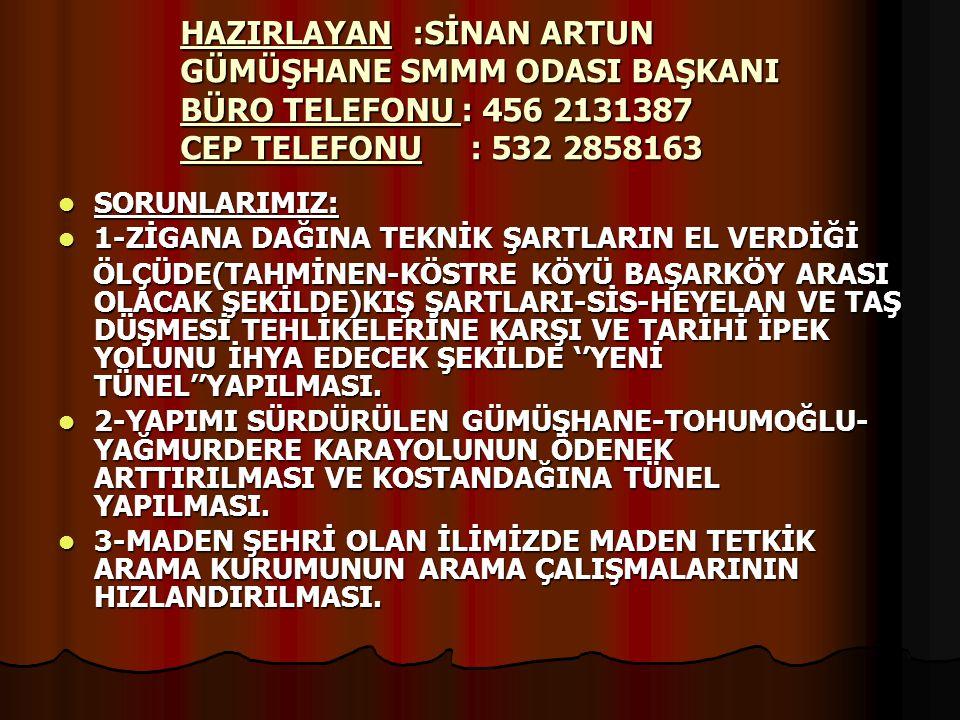 HAZIRLAYAN :SİNAN ARTUN GÜMÜŞHANE SMMM ODASI BAŞKANI BÜRO TELEFONU : 456 2131387 CEP TELEFONU : 532 2858163  SORUNLARIMIZ:  1-ZİGANA DAĞINA TEKNİK Ş