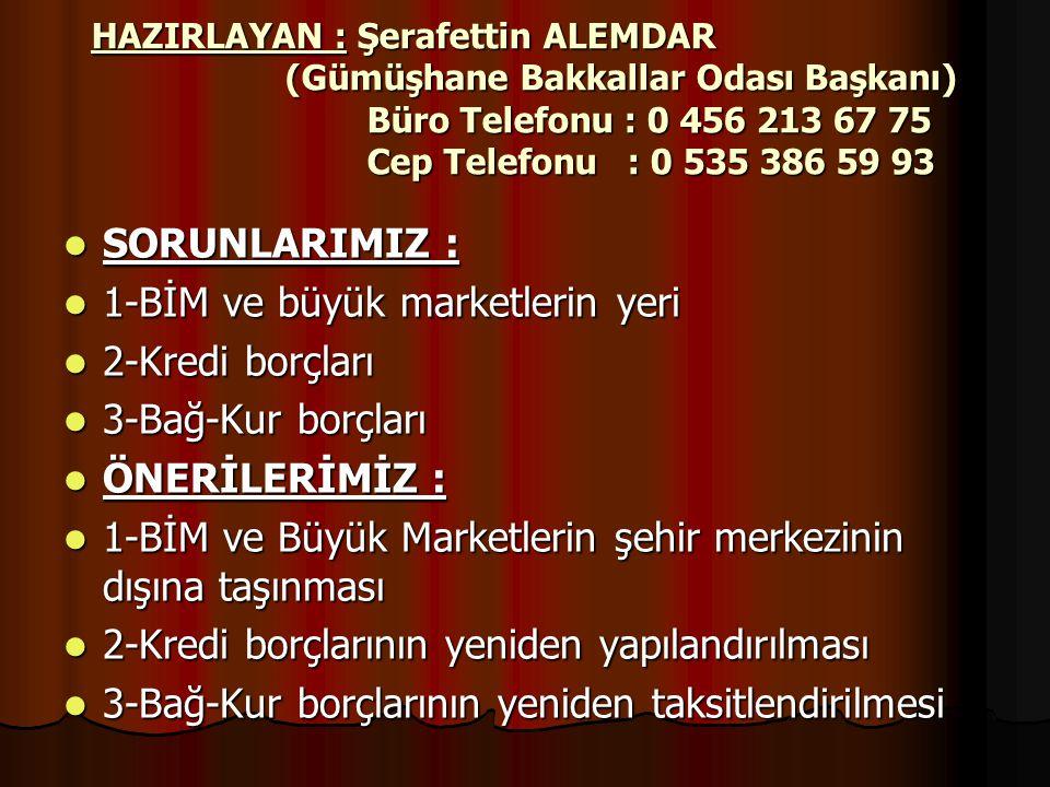 HAZIRLAYAN : Şerafettin ALEMDAR (Gümüşhane Bakkallar Odası Başkanı) Büro Telefonu : 0 456 213 67 75 Cep Telefonu : 0 535 386 59 93  SORUNLARIMIZ : 