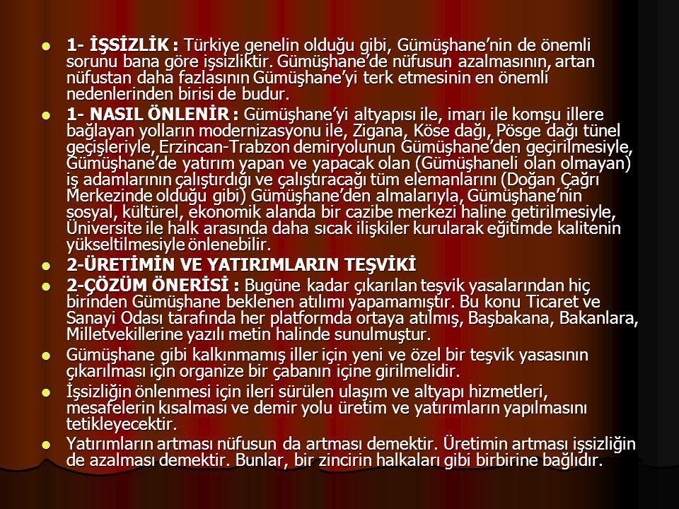  1- İŞSİZLİK : Türkiye genelin olduğu gibi, Gümüşhane'nin de önemli sorunu bana göre işsizliktir. Gümüşhane'de nüfusun azalmasının, artan nüfustan da