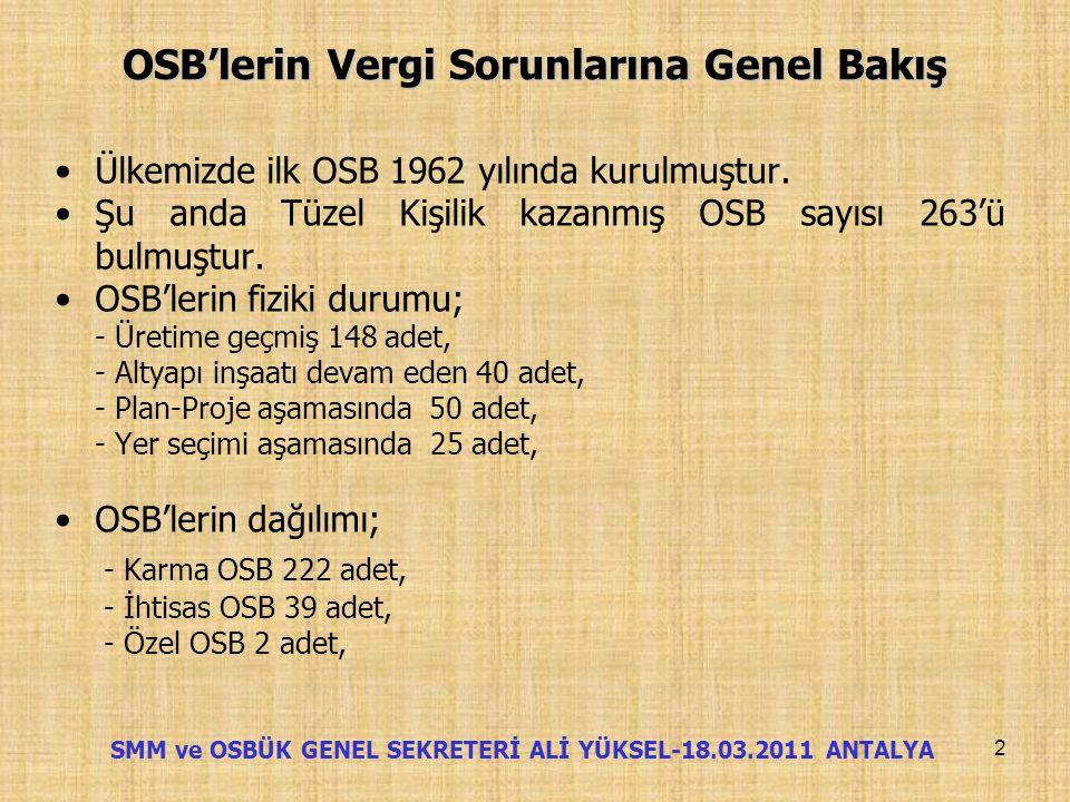 OSB'lerin Vergi Sorunlarına Genel Bakış Genel Bakış SMM ve OSBÜK Genel Sekreteri Ali YÜKSEL (18.03.2011) 1