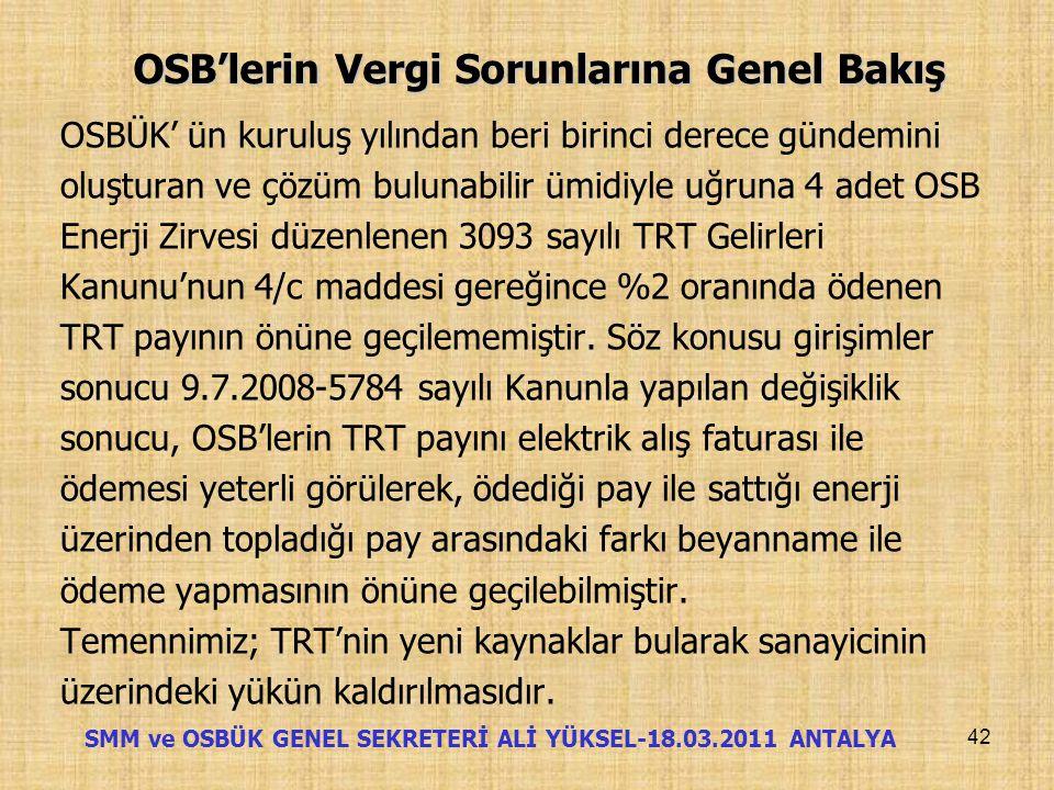 OSB'lerin Vergi Sorunlarına Genel Bakış TRT KATKI PAYI 41 SMM ve OSBÜK GENEL SEKRETERİ ALİ YÜKSEL-18.03.2011 ANTALYA