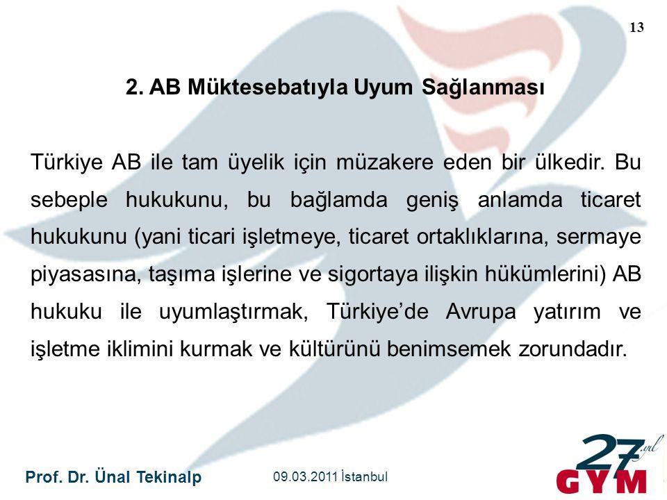Prof. Dr. Ünal Tekinalp 09.03.2011 İstanbul 13 2. AB Müktesebatıyla Uyum Sağlanması Türkiye AB ile tam üyelik için müzakere eden bir ülkedir. Bu sebep