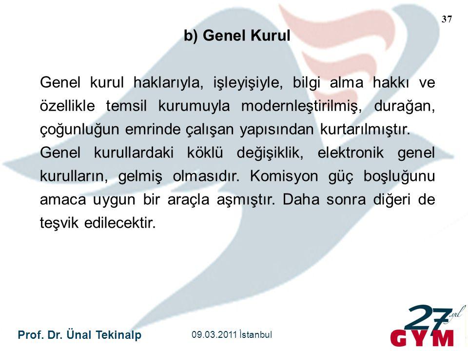 Prof. Dr. Ünal Tekinalp 09.03.2011 İstanbul 37 b) Genel Kurul Genel kurul haklarıyla, işleyişiyle, bilgi alma hakkı ve özellikle temsil kurumuyla mode
