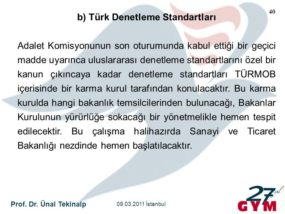 Prof. Dr. Ünal Tekinalp 09.03.2011 İstanbul 40 b) Türk Denetleme Standartları Adalet Komisyonunun son oturumunda kabul ettiği bir geçici madde uyarınc