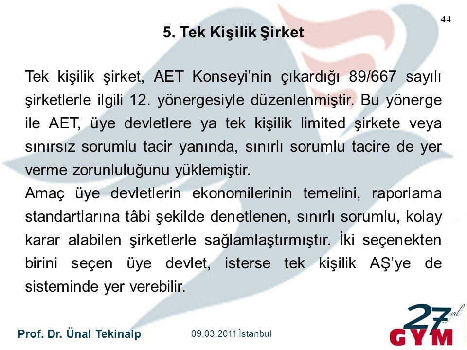 Prof. Dr. Ünal Tekinalp 09.03.2011 İstanbul 44 5. Tek Kişilik Şirket Tek kişilik şirket, AET Konseyi'nin çıkardığı 89/667 sayılı şirketlerle ilgili 12