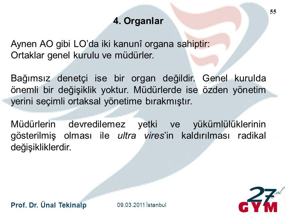 Prof. Dr. Ünal Tekinalp 09.03.2011 İstanbul 55 4. Organlar Aynen AO gibi LO'da iki kanunî organa sahiptir: Ortaklar genel kurulu ve müdürler. Bağımsız