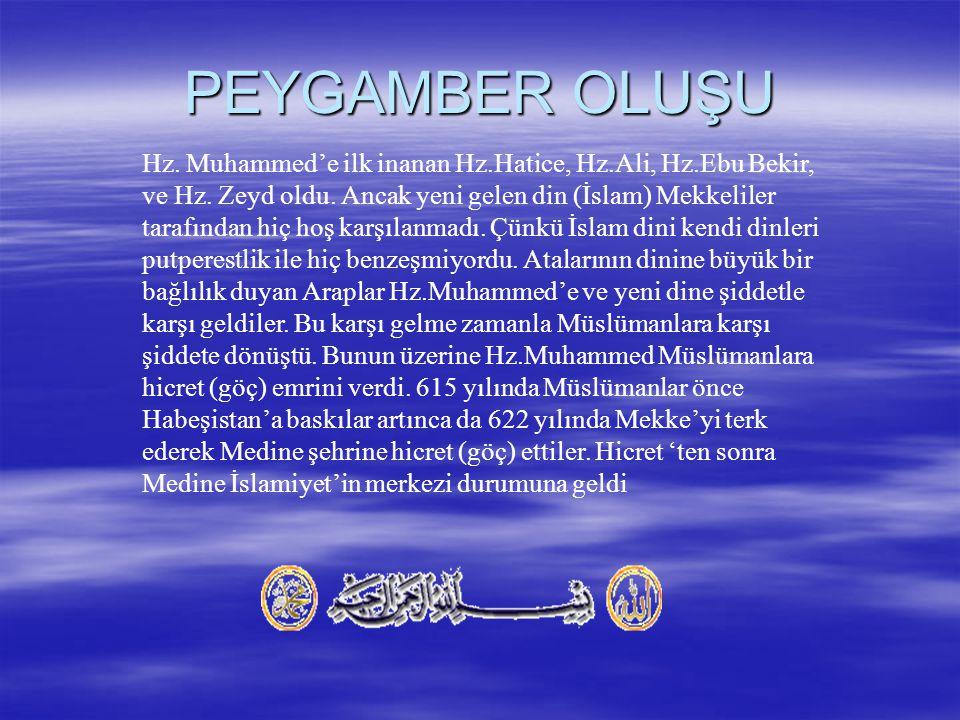 Hz.Muhammed'e ilk inanan Hz.Hatice, Hz.Ali, Hz.Ebu Bekir, ve Hz.