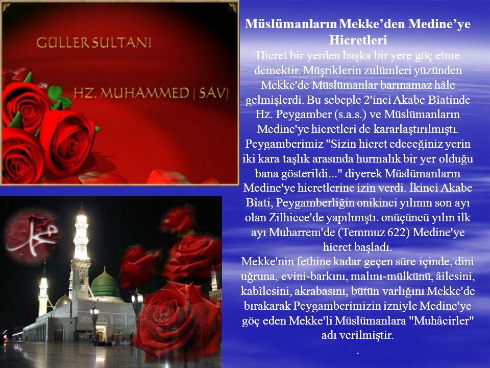 Müslümanların Mekke'den Medine'ye Hicretleri Hicret bir yerden başka bir yere göç etme demektir.