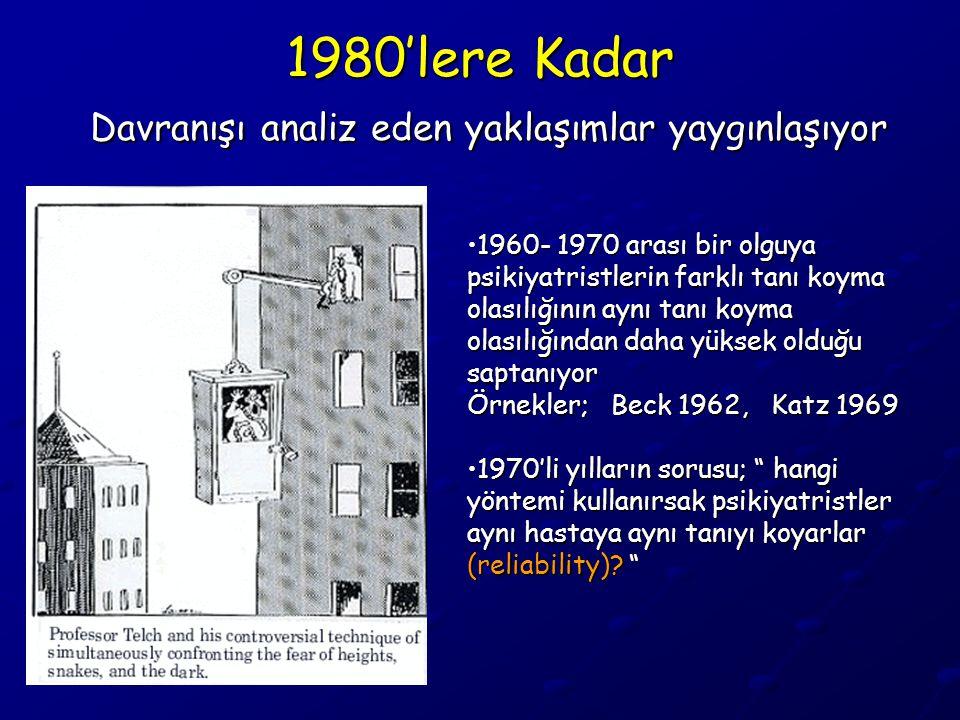 1980'lere Kadar Davranışı analiz eden yaklaşımlar yaygınlaşıyor •1960- 1970 arası bir olguya psikiyatristlerin farklı tanı koyma olasılığının aynı tan