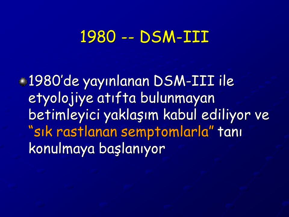 """1980 -- DSM-III 1980'de yayınlanan DSM-III ile etyolojiye atıfta bulunmayan betimleyici yaklaşım kabul ediliyor ve """"sık rastlanan semptomlarla"""" tanı k"""