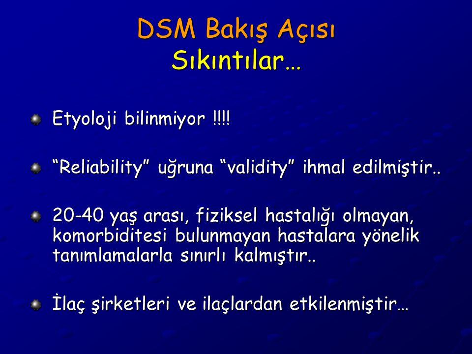 """DSM Bakış Açısı Sıkıntılar… Etyoloji bilinmiyor !!!! """"Reliability"""" uğruna """"validity"""" ihmal edilmiştir.. 20-40 yaş arası, fiziksel hastalığı olmayan, k"""