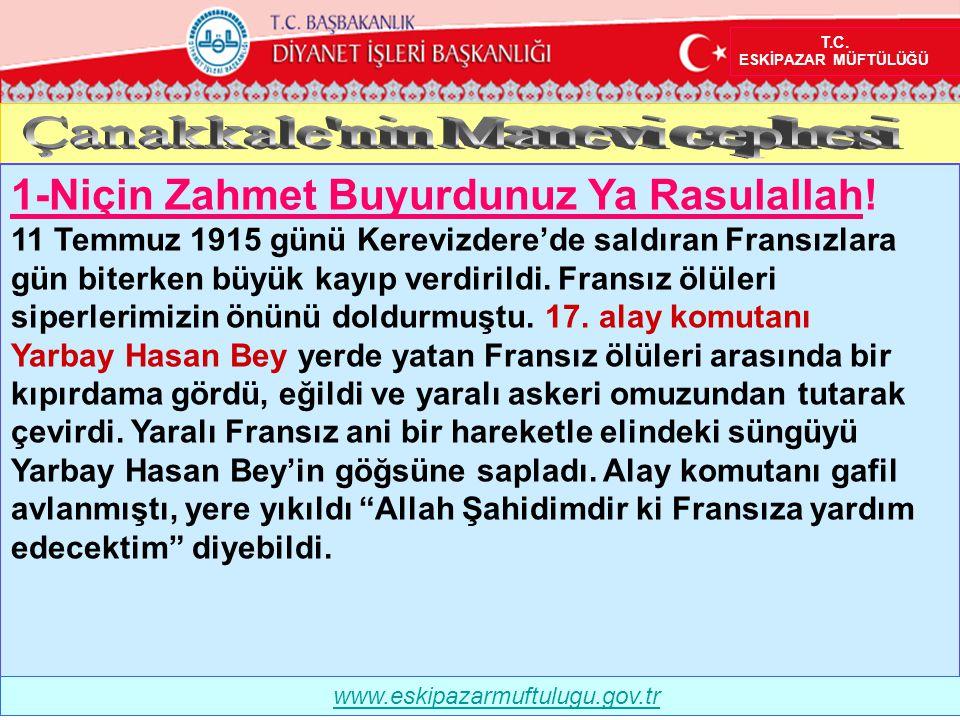 1-Niçin Zahmet Buyurdunuz Ya Rasulallah! 11 Temmuz 1915 günü Kerevizdere'de saldıran Fransızlara gün biterken büyük kayıp verdirildi. Fransız ölüleri