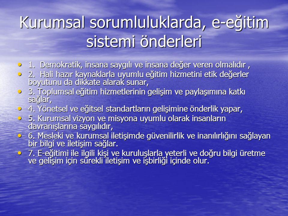 Kurumsal sorumluluklarda, e-eğitim sistemi önderleri • 1.