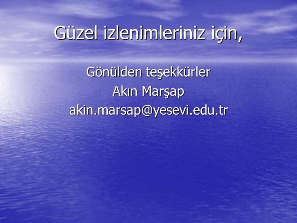 Güzel izlenimleriniz için, Gönülden teşekkürler Akın Marşap akin.marsap@yesevi.edu.tr