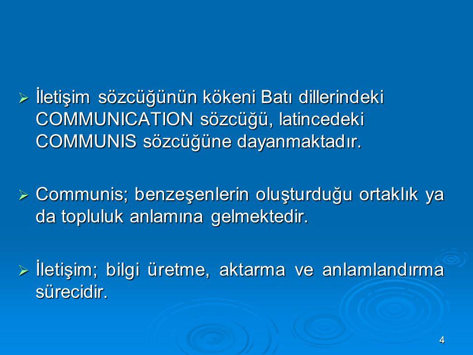  İletişim sözcüğünün kökeni Batı dillerindeki COMMUNICATION sözcüğü, latincedeki COMMUNIS sözcüğüne dayanmaktadır.  Communis; benzeşenlerin oluşturd