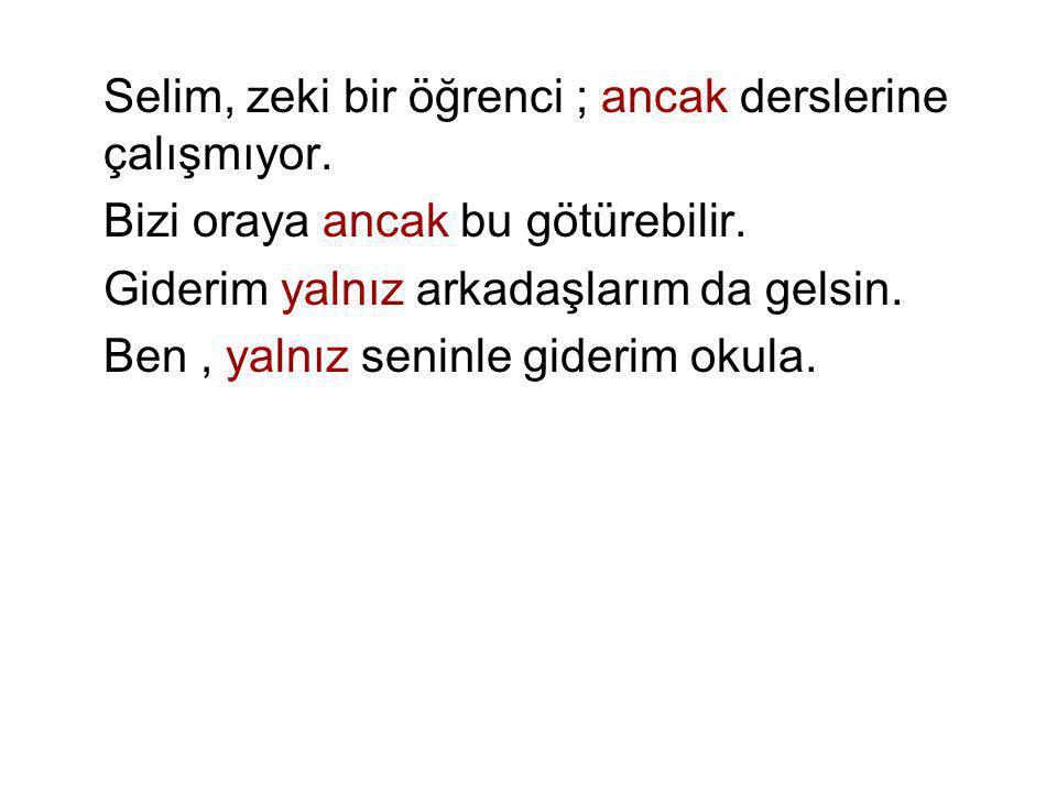 Selim, zeki bir öğrenci ; ancak derslerine çalışmıyor. Bizi oraya ancak bu götürebilir. Giderim yalnız arkadaşlarım da gelsin. Ben, yalnız seninle gid