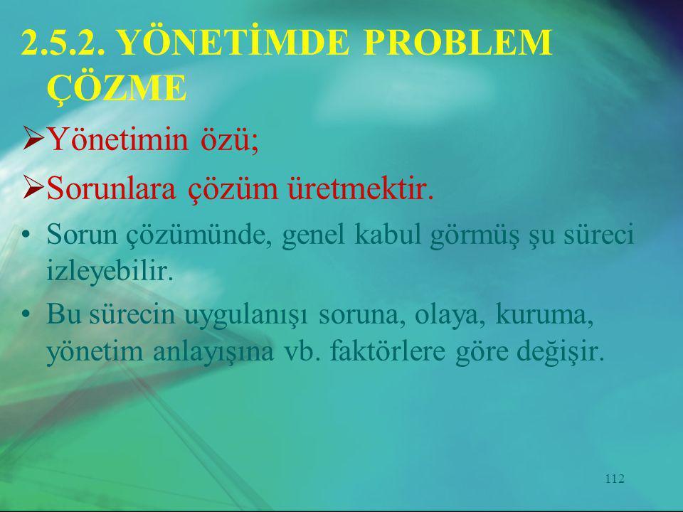112 2.5.2. YÖNETİMDE PROBLEM ÇÖZME  Yönetimin özü;  Sorunlara çözüm üretmektir. •Sorun çözümünde, genel kabul görmüş şu süreci izleyebilir. •Bu süre