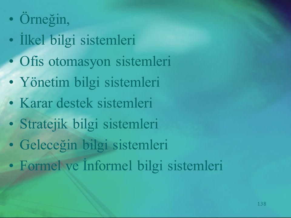 138 •Örneğin, •İlkel bilgi sistemleri •Ofis otomasyon sistemleri •Yönetim bilgi sistemleri •Karar destek sistemleri •Stratejik bilgi sistemleri •Gelec