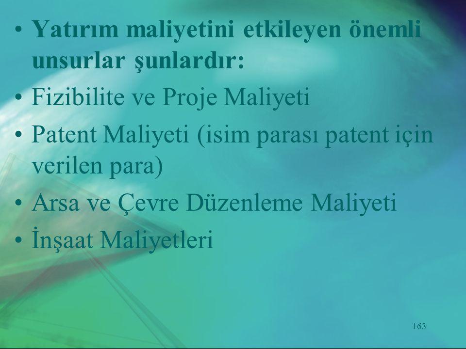 163 •Yatırım maliyetini etkileyen önemli unsurlar şunlardır: •Fizibilite ve Proje Maliyeti •Patent Maliyeti (isim parası patent için verilen para) •Ar
