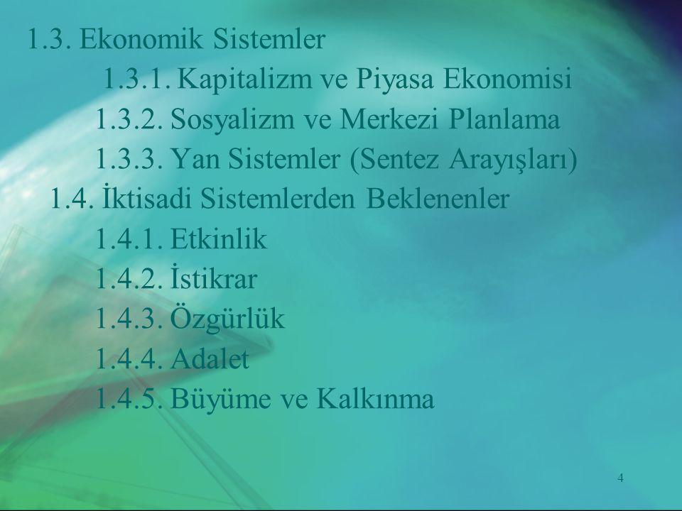 4 1.3. Ekonomik Sistemler 1.3.1. Kapitalizm ve Piyasa Ekonomisi 1.3.2. Sosyalizm ve Merkezi Planlama 1.3.3. Yan Sistemler (Sentez Arayışları) 1.4. İkt
